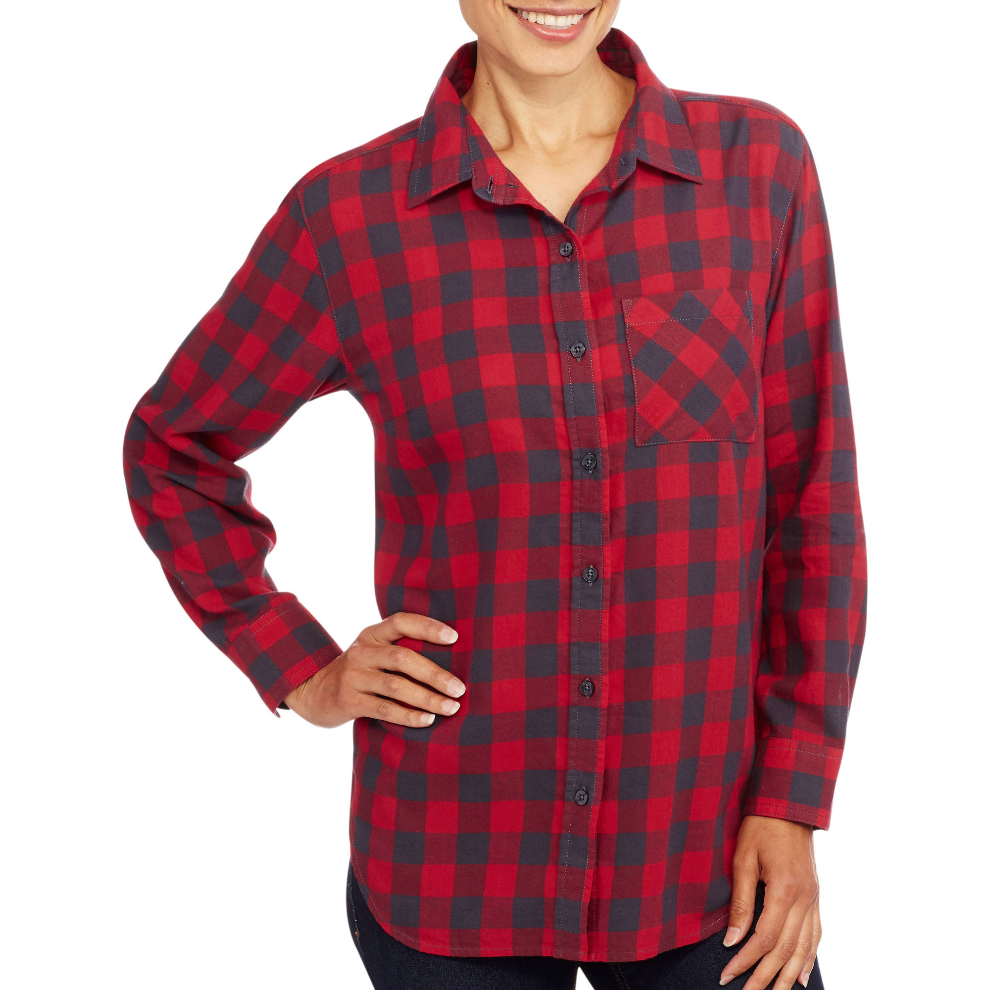 Womens Tunic-Length Boyfriend Plaid Shirt