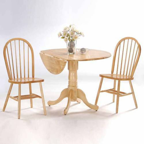 "42"" Dual Drop Leaf Table with 2 Windsor Chairs, Multiple Finishes"