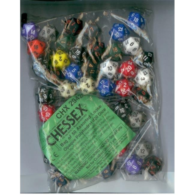 Chessex Manufacturing 29420 Opaque 20 Poly Assorted Bagged Dice, Bag - 50