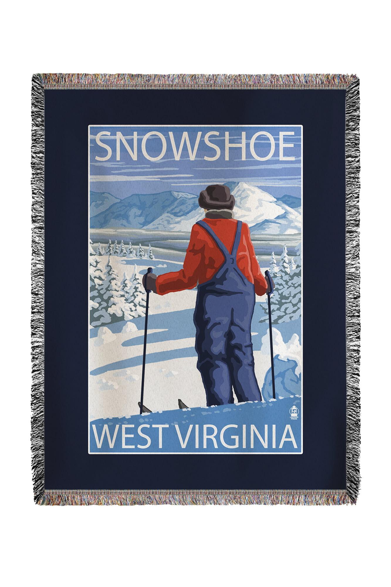 Snowshoe, West Virginia Skier Admiring View Lantern Press Poster (60x80 Woven Chenille Yarn Blanket) by Lantern Press