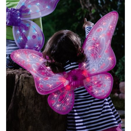 Twinkling Pink Fairy Wings with Fiber Optic LED Lights for Kids Dress Up](Peacock Fairy Wings)