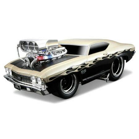 1969 Chevy Chevelle Ss W Engine Blower Gold Black Maisto