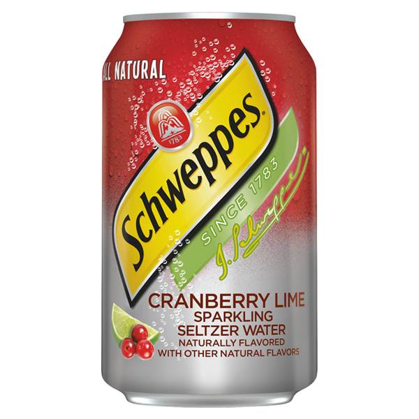Schweppes Cranberry Lime Sparkling Seltzer Water 12 oz Cans - Pack of 24