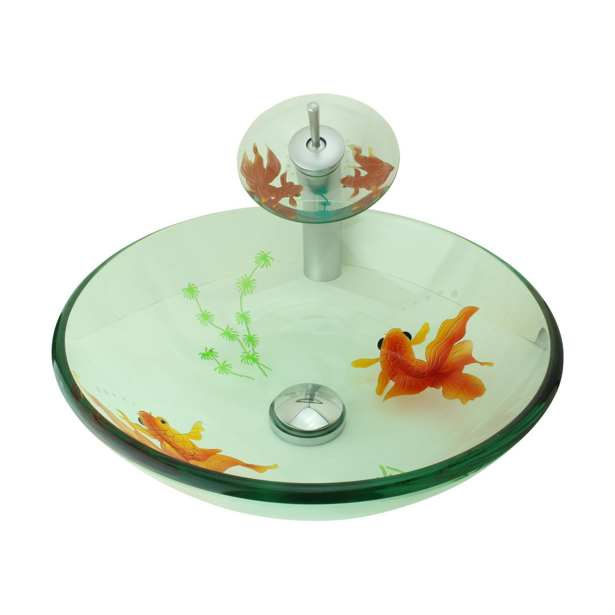 Bathroom Glass Vessel Sink Koi Fish Waterfall Faucet Combo | Renovatoru0027s  Supply