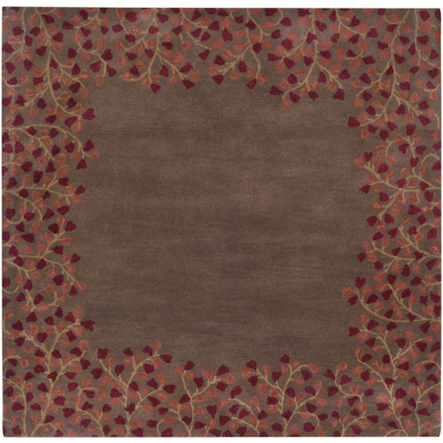 6' x 6' Enchanted Weald Maroon Red and Brown Sugar Wool Square Area Throw Rug