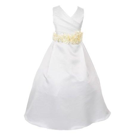 735dba74cc80 Cinderella Couture - Little Girls Ivory Color Choice Sash Full Length  Bridal Flower Girl Dress - Walmart.com
