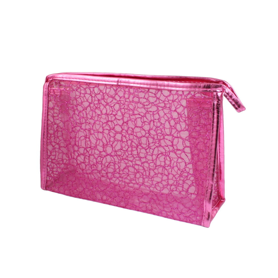 Rectangle Shaped Fuchsia Glittery Mesh Cosmetic Makeup Bag Holder for Lady Women