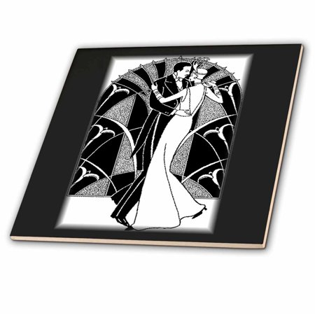 3dRose Art Deco Dancing Couple - Ceramic Tile, - Couple Tile Box