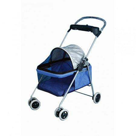 Blue BestPet Cute Posh Pet Stroller Dogs Cats W/Cup Holder
