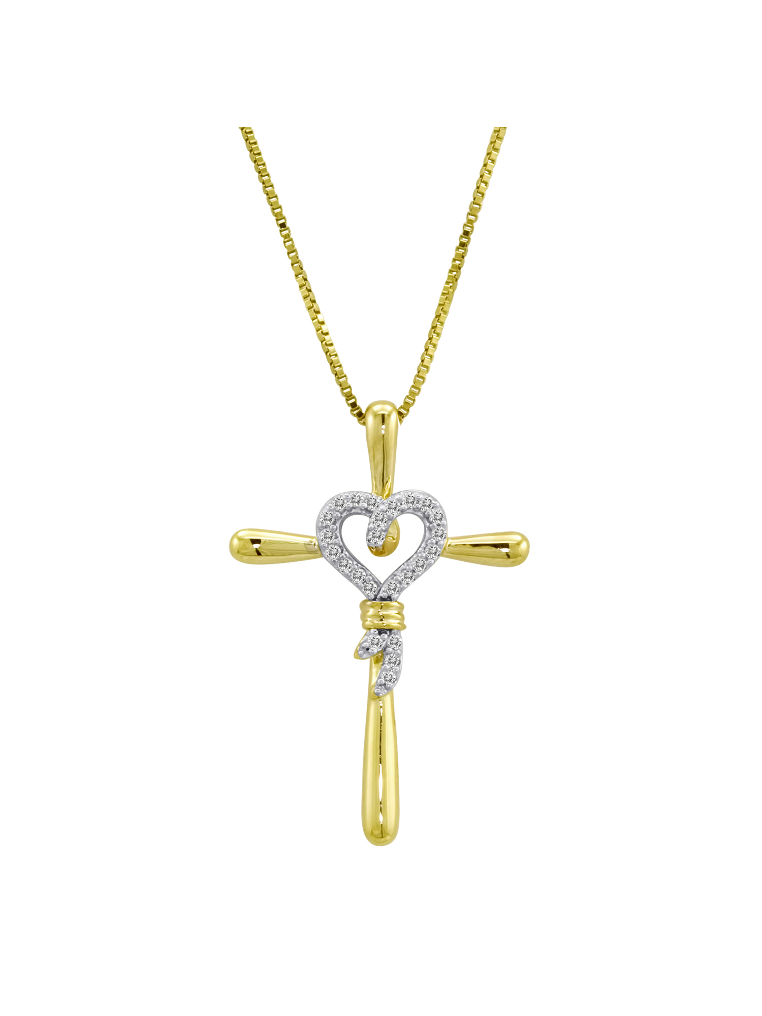 14kt Yellow Gold over Sterling Silver 1/10 Carat T.W. Diamond Cross Pendant, 18