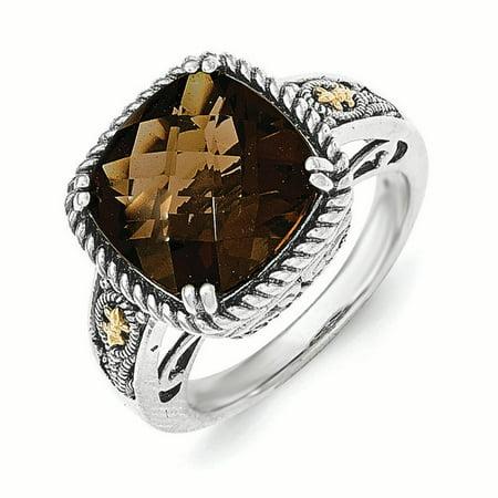 Quartz Elegant Ring - 14k Yellow Gold w/Sterling Silver Smoky Quartz Ring LAL93349