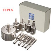 10-Pack 8-50mm Diamond Drill Bits Set Tool Hole Saw Cutter For Glass Marble Granite 50mm/2  Length