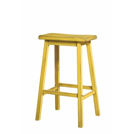 Wooden Bar Stool (Set-2), Antique Yellow ()