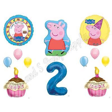 PEPPA PIG 2ND Second Happy Birthday Party Balloons Decoration Cake Cupcakes