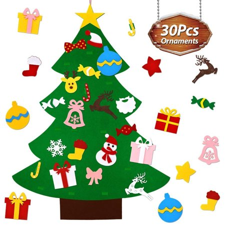 【LNCDIS】DIY Felt Christmas Tree Set With Ornaments For Kids Xmas Gifts Door Wall Hanging ()