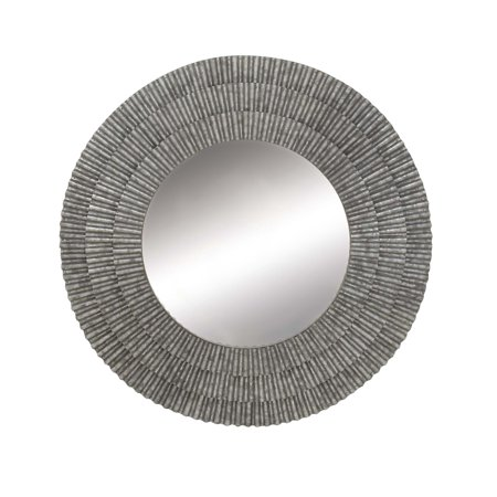 Decmode Modern 37 Inch Round Gray Metal Framed Wall Mirror With Corrugated