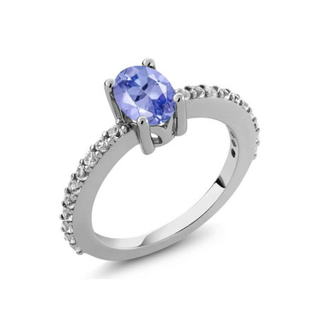 1.05 Ct 7x5mm Oval Tanzanite White Created Sapphire 925 Silver Ring