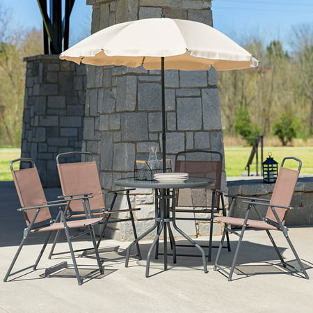 Flash Furniture Nantucket 6 Piece Brown Patio Garden Set with Table, Tan Umbrella and 4 Folding Chairs ()