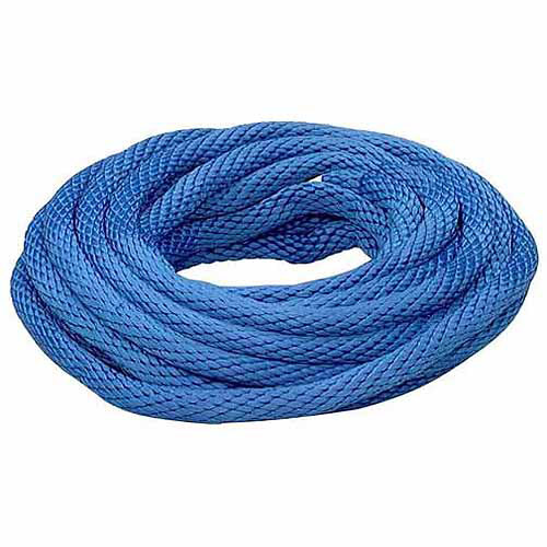 "Lehigh Group BSBP235W Blue Polypropylene Solid Braid Derby Rope, 1/2"" x 35'"
