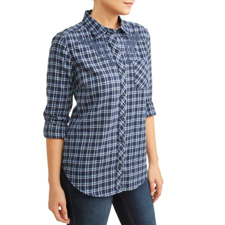 - Women's Plaid Shirt With Embroidery