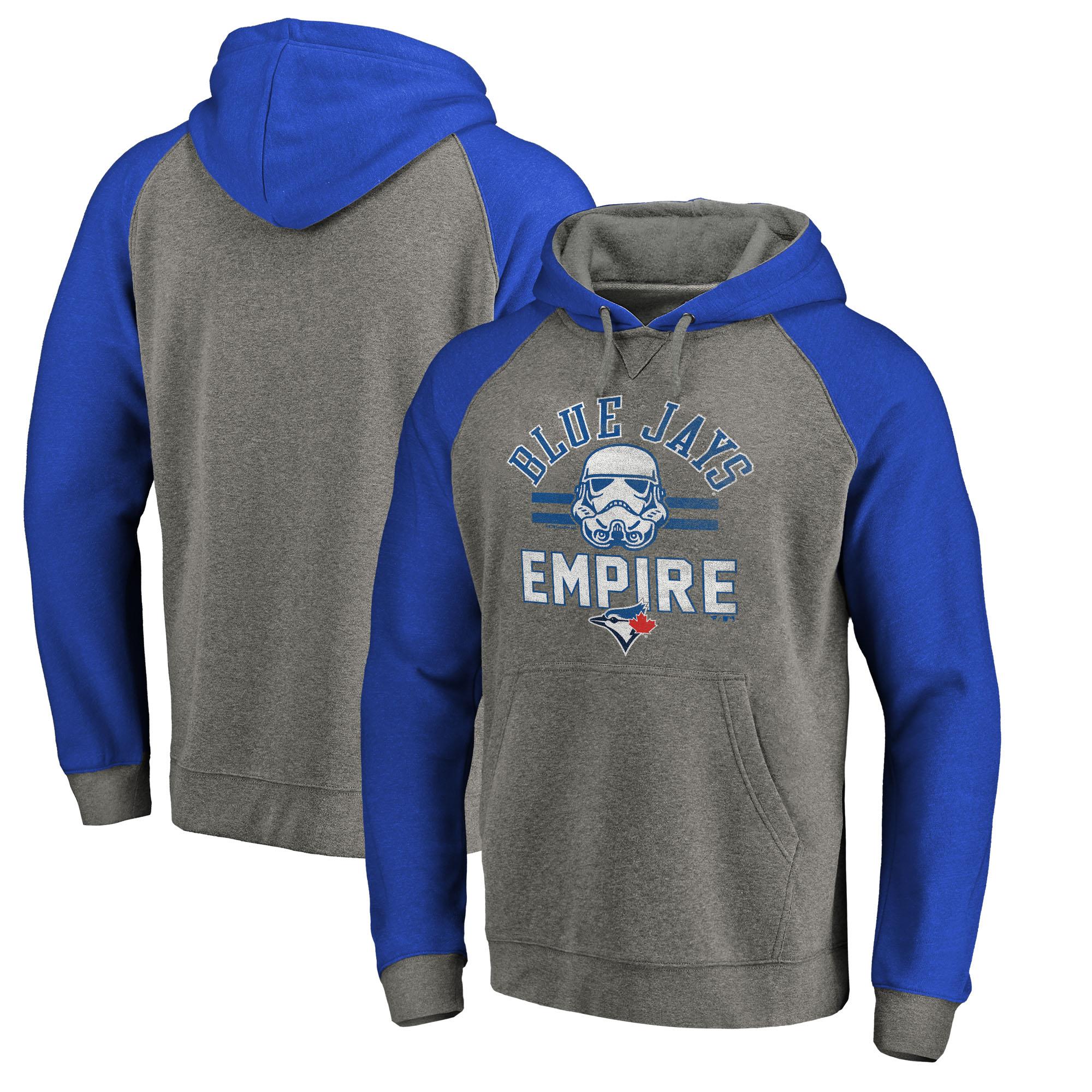 Toronto Blue Jays Fanatics Branded MLB Star Wars Empire Tri-Blend Pullover Hoodie - Heather Gray