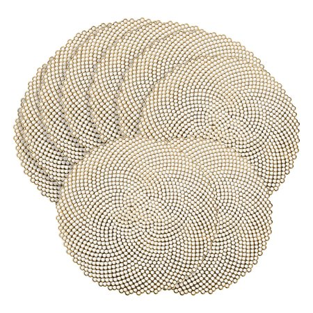Round Vinyl Placemats (Fun Express - Gold Die Cut Round Vinyl Placemats 6pc for Wedding - Party Supplies - Table Covers - Table Placemats - Wedding - 6)