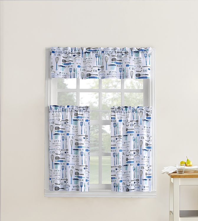 Mainstays Bistro 3 Piece Kitchen Curtain Tier And Valance Set Walmart Com Walmart Com