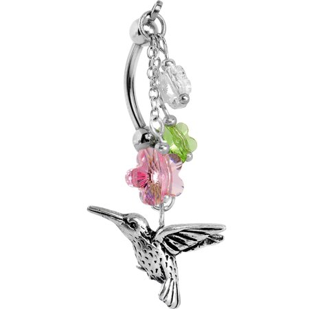 Body Candy Hummingbird Flower Double Mount Belly Ring Created with Swarovski Crystals Crystal Flower Belly Ring