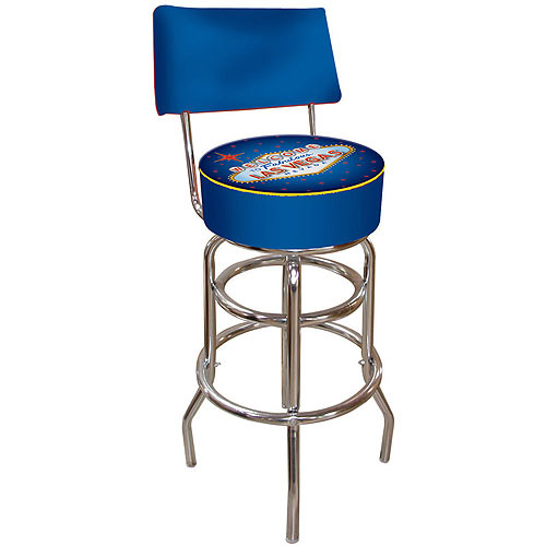 "Trademark Fabulous Las Vegas 40"" Padded Bar Stool with Back, Chrome"