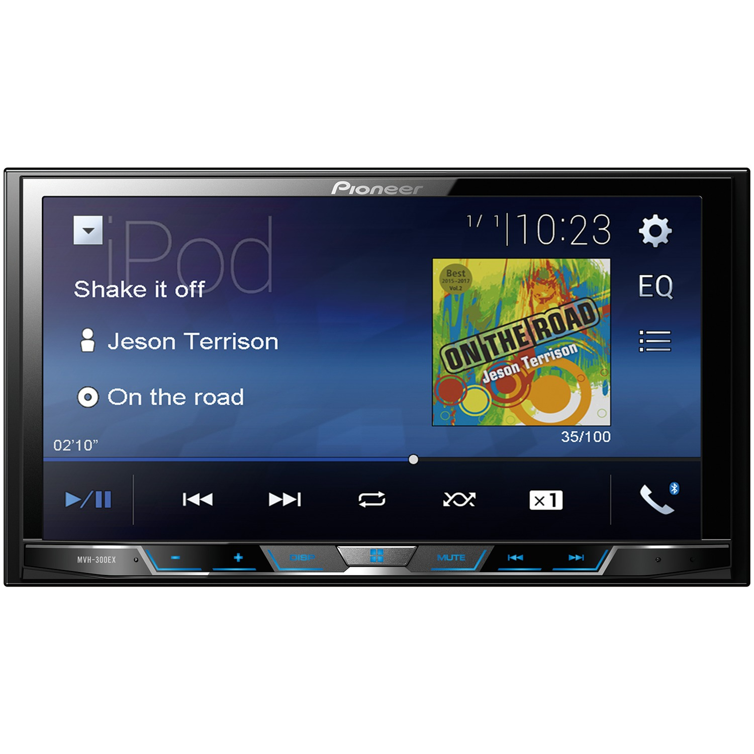 "Pioneer MVH-300EX 7"" Double-DIN In-Dash Digital Media & A/V Receiver with Bluetooth"