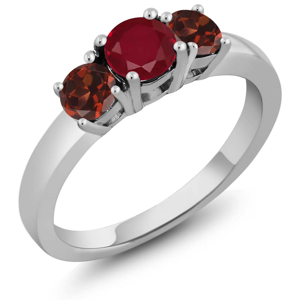 1.30 Ct Round Red Ruby Red Garnet 925 Sterling Silver 3-Stone Ring