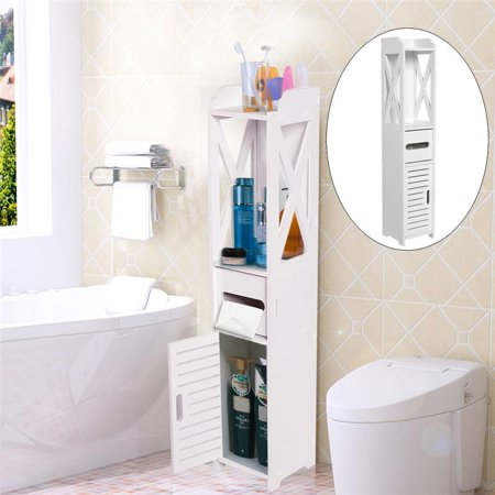Bathroom Cabinet,Bathroom Storage Shelf,Fosa 80*15.5*15.5CM Bathroom Toilet Furniture Cabinet White Wood Cupboard Shelf Tissue Storage Rack ()
