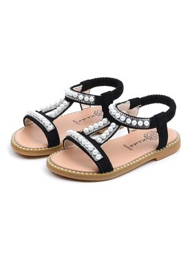 Outtop Toddler Infant Kids Baby Girls Pearl Crystal Single Princess Roman Shoes Sandals