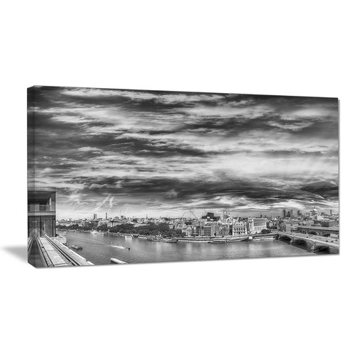 Design Art Black and White Panoramic London Photographic Print on Wrapped Canvas