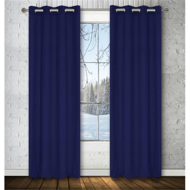 LJ Home Fashions OO315 Karma Faux-Cotton Window Panel Set in Starry-night blues - set of 2