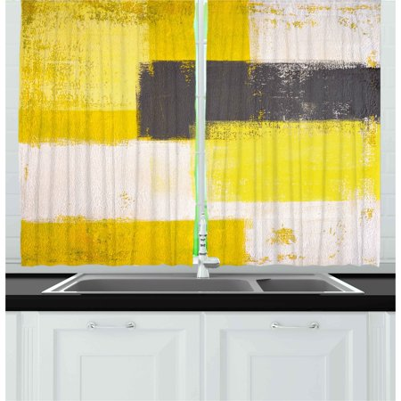 Grey and Yellow Curtains 2 Panels Set, Abstract Grunge Style Brushstrokes Painting Style, Window Drapes for Living Room Bedroom, 55W X 39L Inches, White Charcoal Grey and Pale Yellow, by Ambesonne ()
