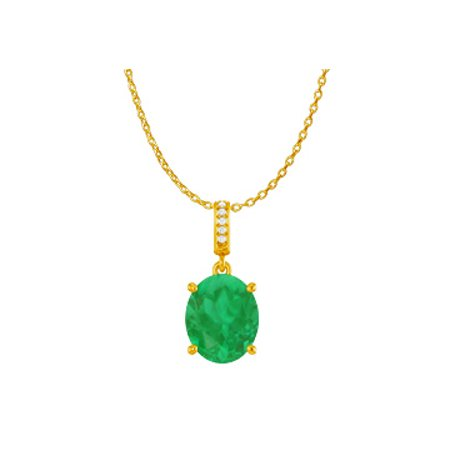 Oval Emerald CZ Accented Pendant Yellow Gold Vermeil - image 1 de 2