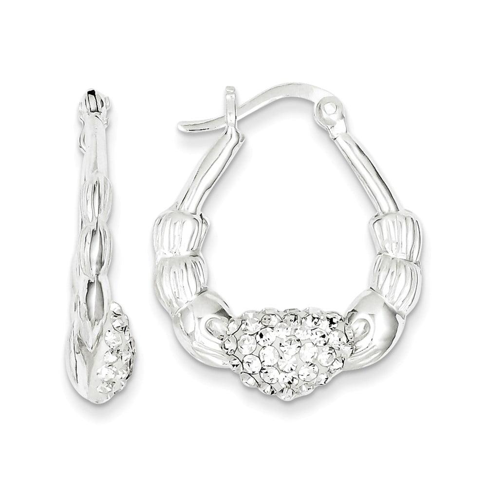 Sterling Silver 1.0IN Long Stellux Crystal Scallop Earrings