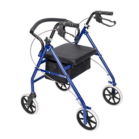 Walkers for Seniors, Rollator Walker with Seat and Wheels, Steel Foldable Walkers with Basket and Removable Back Support, Blue,
