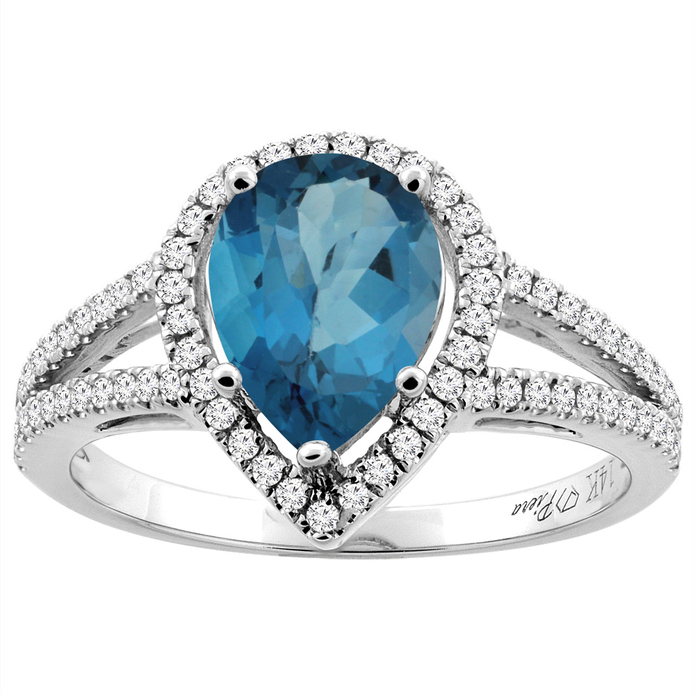 14K White Gold Natural London Blue Topaz Ring Pear Shape 9x7 mm Diamond Accents, size 5.5 by Gabriella Gold