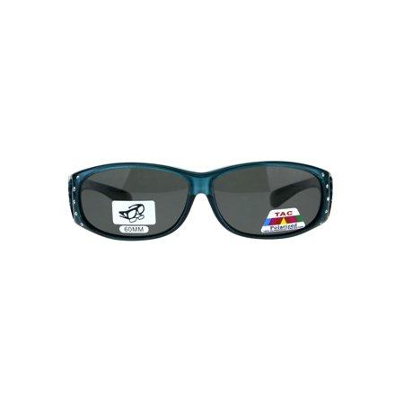 9cbd1fee549b SA106 - Polarized Womens Rhinestone Bling Fit Over Rectangular 60mm  Sunglasses Teal Black - Walmart.com
