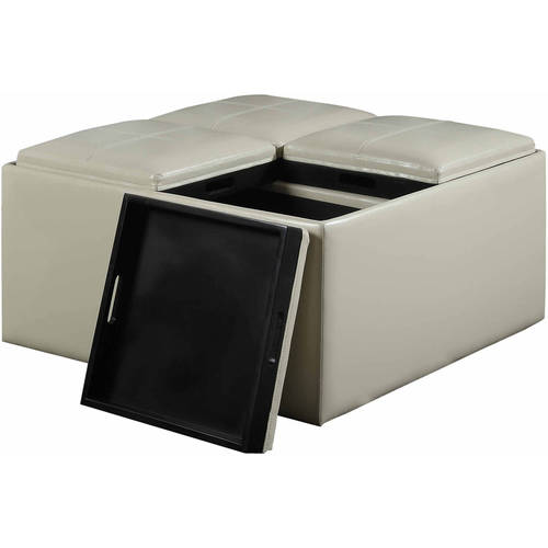 ... + Max Lincoln Coffee Table Storage Ottoman with 4 Serving Trays