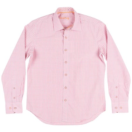 - Checkered Button Down Long Sleeve Woven Justing Collared Shirt Mens Red