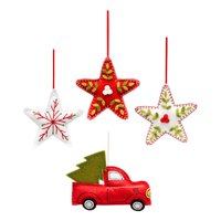 Holiday Time Felt Christmas Ornaments, Set of 4