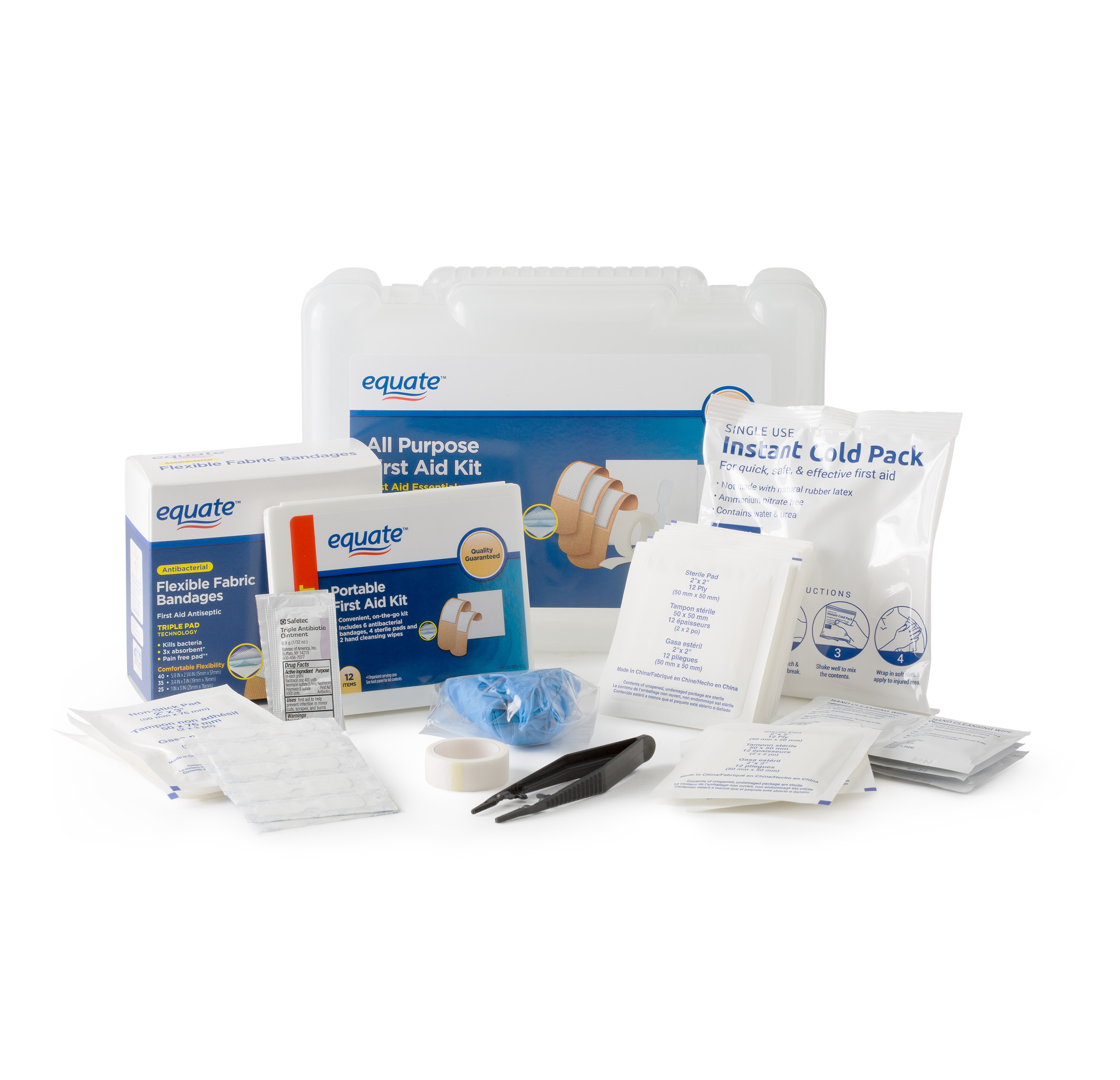 Click here to buy Equate All Purpose First Aid Kit First Aid Essentials Package, 152 Pc by Wal-Mart Stores, Inc..