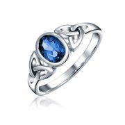 Simulated Sapphire Celtic Trinity Knot Triquetra Ring for Women 1MM Band 925 Sterling Silver September Birth Month