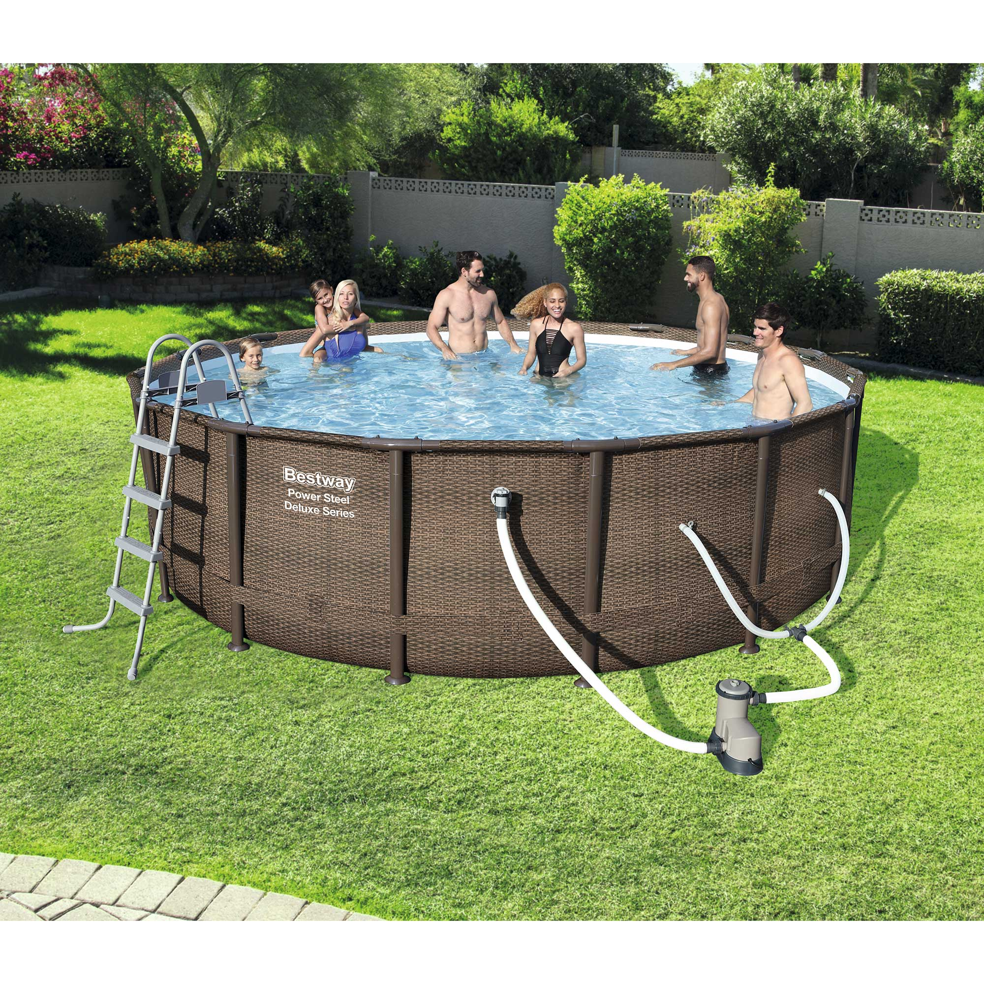 "Bestway 16' x 48"" Power Steel Frame Above Ground Swimming Pool Set with Pump"