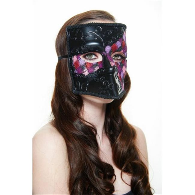 Kayso MKR002PK Black Full Face Bauta Plastic Masquerade Mask with Pink Glitter