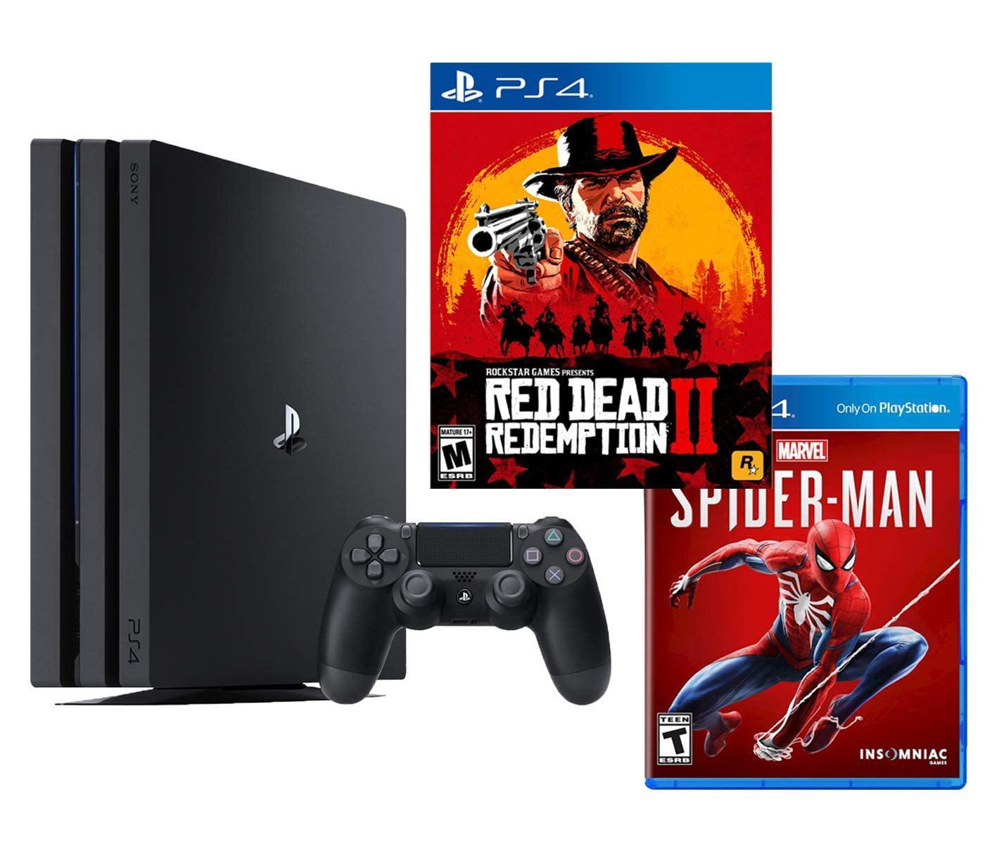 Playstation 4 Pro Red Dead And Spider Man Bundle Red Dead Redemption 2 Marvel S Spider Man Playstation 4 Pro 4k Hdr 1tb Console Walmart Com Walmart Com
