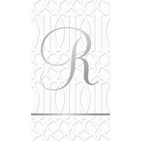 32ct. Guest Towel, Silver Foil, Monogram R